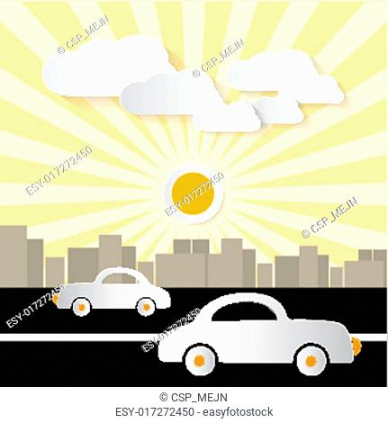 Paper Abstract Retro City Illustration with Buildings, Cars, Trees, Sun and Clouds
