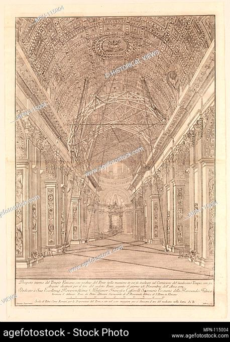 Scaffolding Erected for the Restoration of the Vault in St. Peter's Basilica: Overview of the Nave. Artist: Giacomo Sangermano (Italian