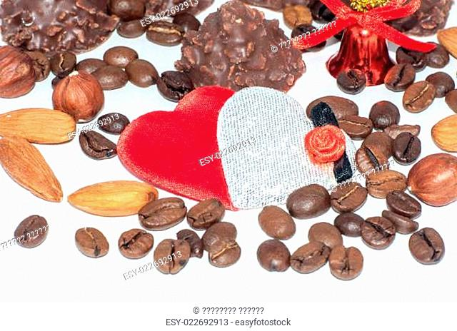 Heart chocolate candy on Valentines day