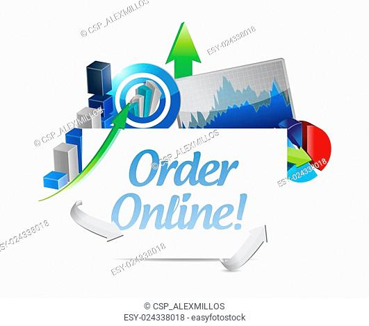 Order online business charts sign concept
