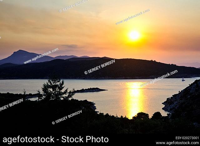 Beautiful sunset over Aegean sea