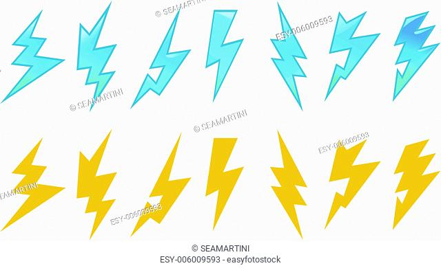 Set of lightning icons and symbols isolated on white background