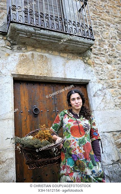 Rosa Maria, herbalist Peratallada, small fortified medieval town in the municipality of Forallac Province of Girona Autonomous community of Catalonia, Spain