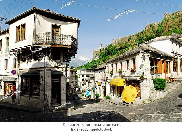 Alley in the historic center of Gjirokaster, UNESCO World Cultural Heritage Site, Albania, Europe