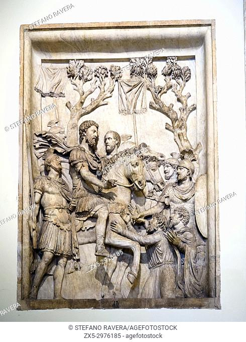 Marble relief from an honorary monument of Marco Aurelio (161-180 AD). Submission of the Germans 176-180 AD. Musei Capitolini - Rome Italy