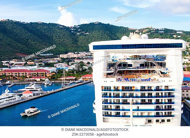 A cruise ship in port at Charlotte Amalie, St. Thomas, US Virgin Islands viewed from another cruise ship