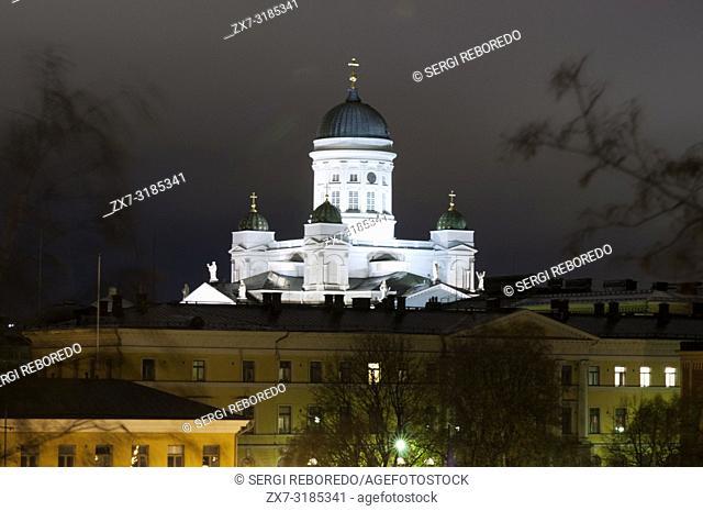 Helsinki lutheran cathedral at night in Helsinki Finland