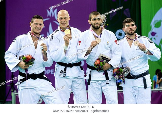 From left silver Lukas Krpalek from Czech Republic, winner Henk Grol from Netherlands and third placed Toma Nikiforov of Belgium and Cyrille Maret of France...