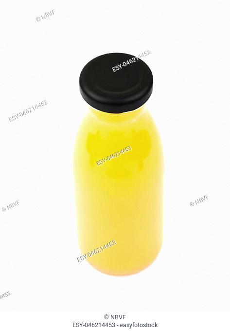 Bottle of orange juice isolated over the white background
