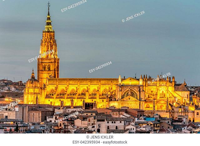 The Saint Mary Cathedral of Toledo in Spain at dusk