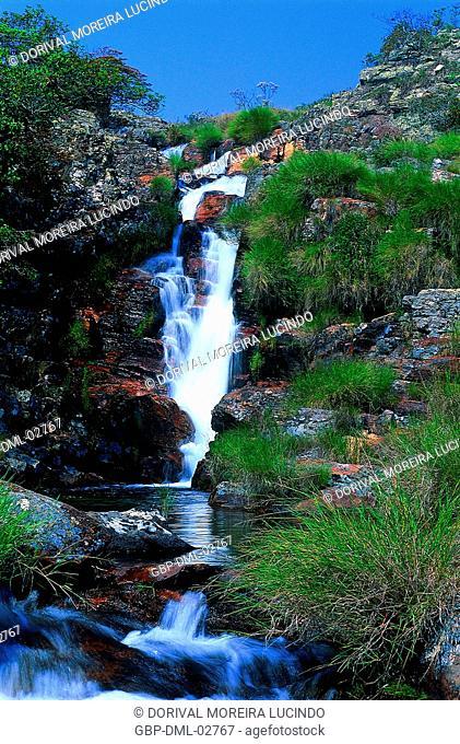 Waterfall, Rocks, Canastra Mountain Range, Minas Gerais, Brazil