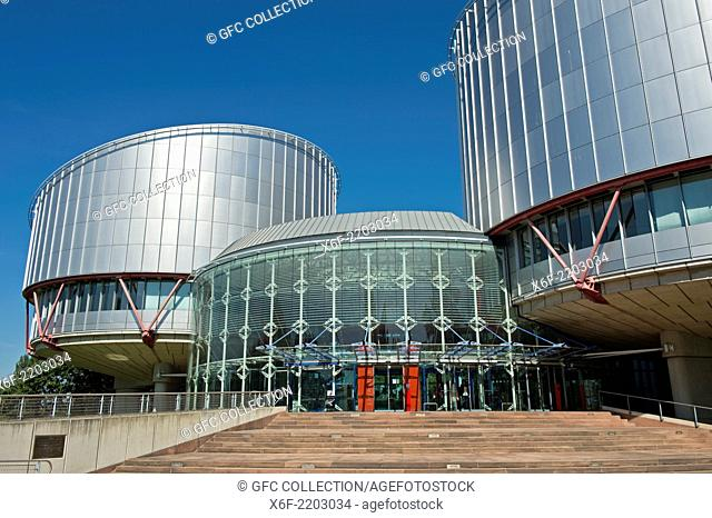 European Court of Human Rights building (ECtHR) with the cylindrical buildings of the courtrooms by the architect Richard Rogers, Strasbourg, Alsace, France