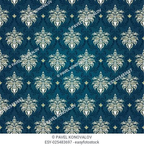 Colourfull seamless damask ornate pattern