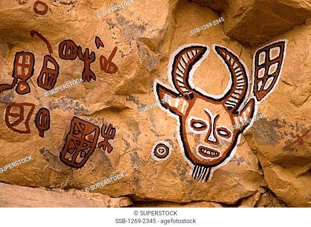 Close-up of a painting on a rock, Songo, Bandiagara Escarpment, Mali