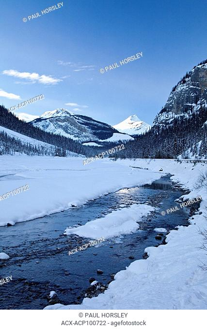 Snow covered landscape by highway 93, Banff National Park, Alberta, Canada
