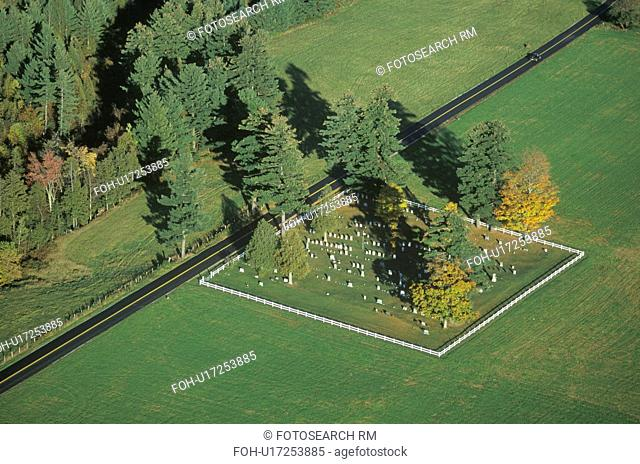 Aerial view of a family cemetery in autumn, VT