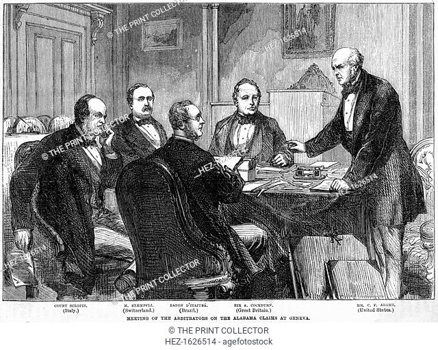 Meeting of the arbitrators on the Alabama Claims, Geneva, Switzerland, c1865-c1870. The Alabama Claims were a series of claims for damages by the government of...
