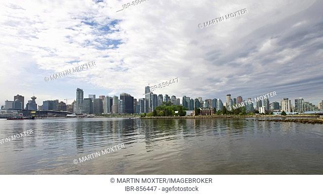 High rise buildings on Coral Harbour with Shaw Tower, Green Harbour, Callisto, Escala, and Westin Bayshore Hotel, Vancouver, British Columbia, North America