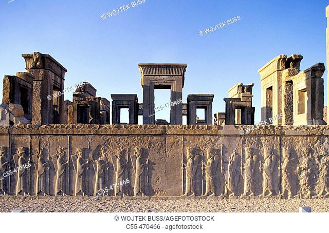 Bas-relief of guardians. West stairs. Tachara. Darius Palace. Persepolis. Iran