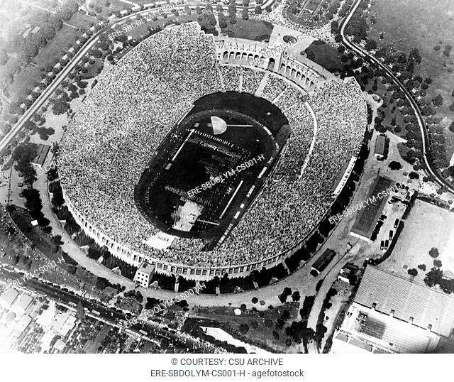 Aerial view of opening day games at the 1932 Olympics, Memorial Coliseum, Los Angeles California. July 16, 1932. Courtesy: CSU A