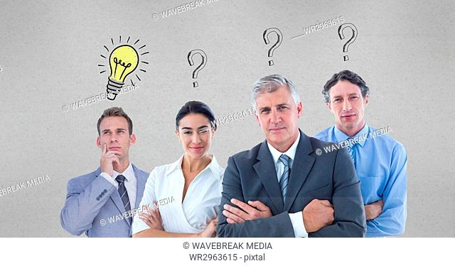 Confident business people with question marks and light bulb