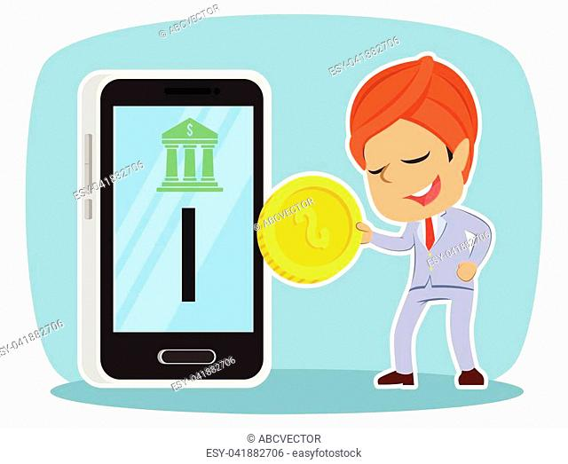 Indian businessman inserting coin to mobile banking