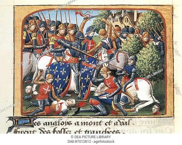 France - 15th century - Manuscript of the Chronicle of Charles VII - Battle of Formigny (April 15, 1450)  Paris, Bibliothèque Nationale De France (Library)