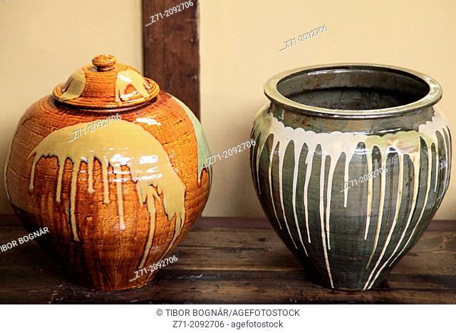 Japan, Hida, Takayama, Yoshijima Heritage House, interior, ceramic pots,