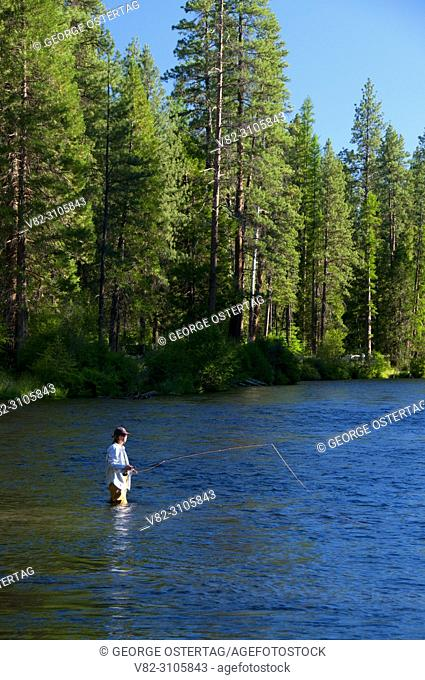 Flyfishing, Metolius Wild & Scenic River, Deschutes National Forest, Oregon