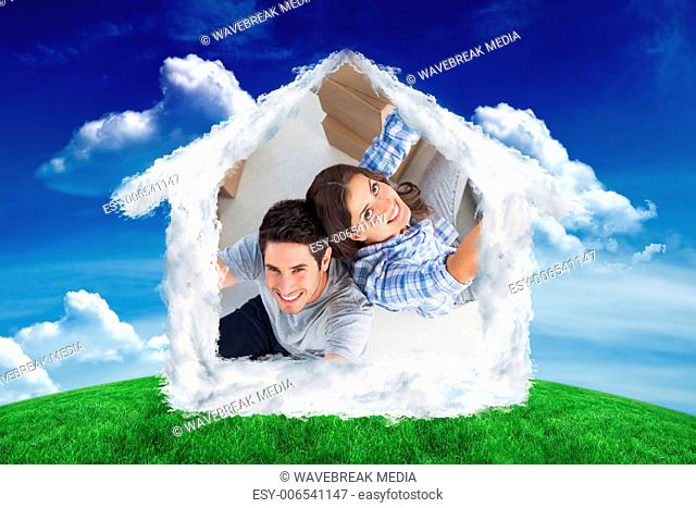 Composite image of overview of couple giving thumbs up
