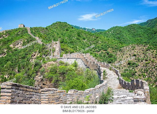 Great Wall of China on hillside, Beijing, Hebei Province, China
