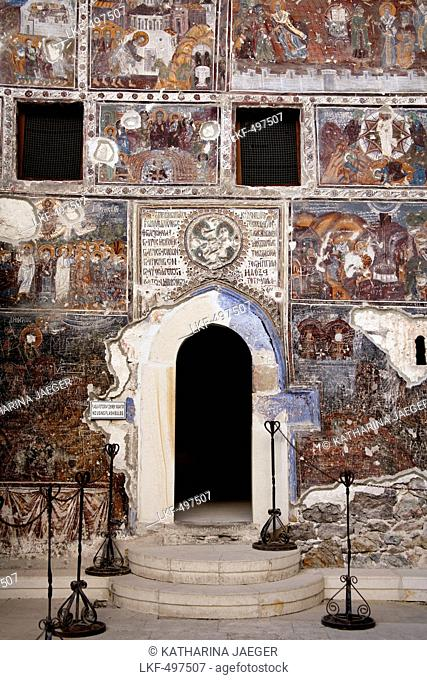 Byzantine frescoes on a wall of a chapel in Sumela Monastery, Macka, Trabzon Province, Turkey, Asia