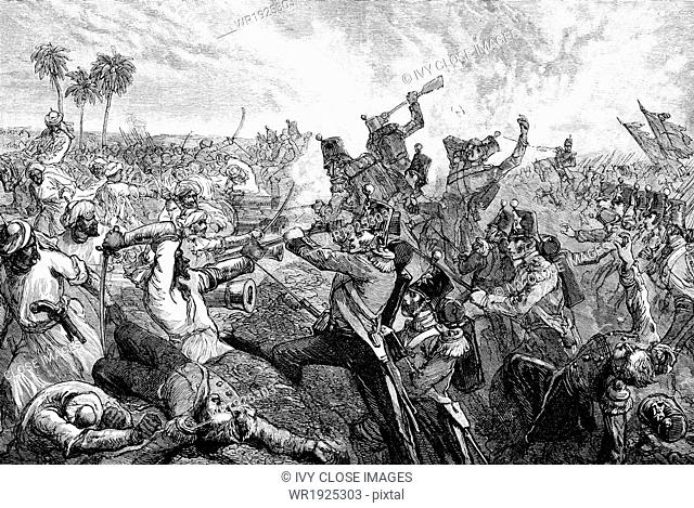 The First Sikh War took place in India, between the Indians and the British, in 1845–1846. The Battle of Firoz Shah occurred on December 21-22, 1845