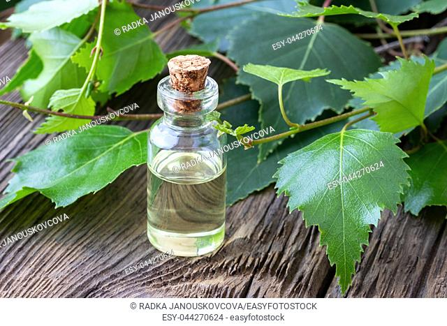 A bottle of essential oil with fresh birch branches