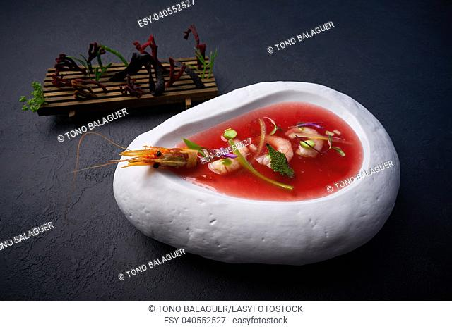Mediterranean gazpacho tomato soup with seafood and codium salad