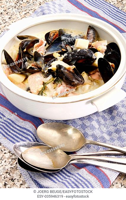 warm mixed seafood chowder with scottish mussel