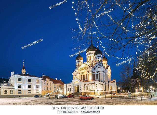 Tallinn, Estonia. Evening View Of Alexander Nevsky Cathedral. Famous Orthodox Cathedral. Popular Landmark And Destination Scenic
