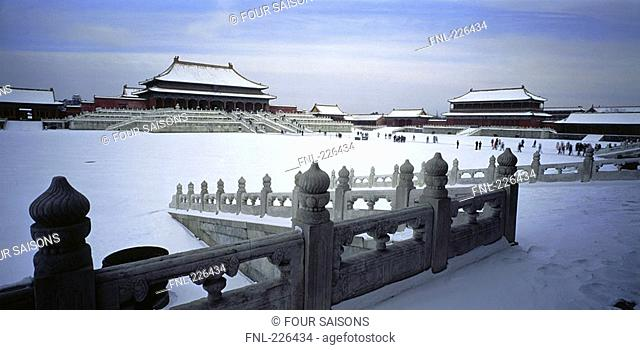 Courtyard of palace covered with snow, Hall Of Supreme Harmony, Forbidden City, Beijing, China