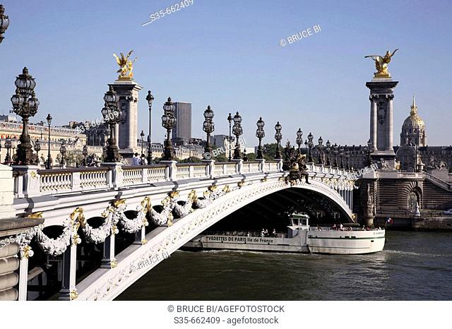 Pont Alexandre III with the Dome Church of Hotel Invalides in the background. Paris. France
