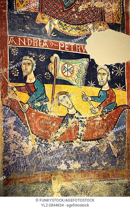 Twelfth Century Romanesque fresco of The Calling of St. . Andrew & St. Peter fishing from the church of Santa Maria de Taull, La Vall de Boi, Alta Ribagorca