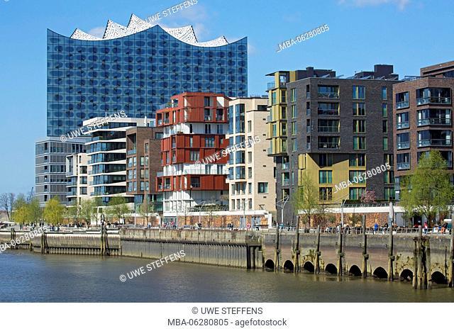 HafenCity of Hamburg, View from the Marco-Polo-Terrassen on Elbphilharmonie / Elbe Philharmonic Hall and building on Dalmannkai
