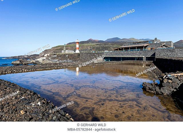 Salt pools near the saltworks of Fuencaliente, old and new lighthouse, restaurant and museum 'Jardin de la Sal', south coast, La Palma, Canary Islands, Spain