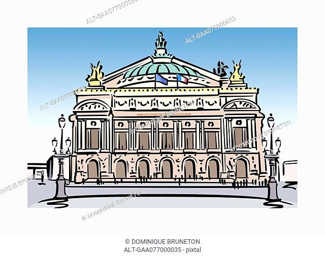 Illustration of the Opera Garnier in Paris, France