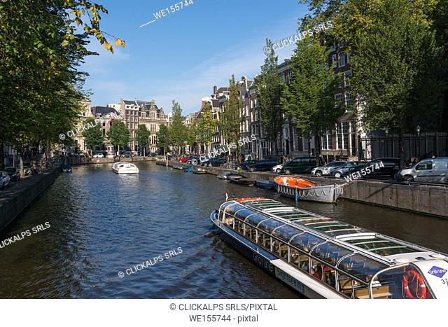 The Netherlands, Europe, sailing boat in Amsterdam canal