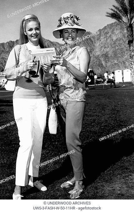 Palm Springs, California: 1967 Two fashionable women at the Desert Classic Golf Tournament