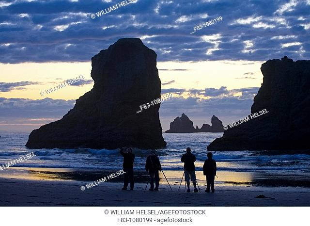 USA, Oregon, Coos County, Bandon State Park, photographers photographing sea stacks and surf at sunset, September