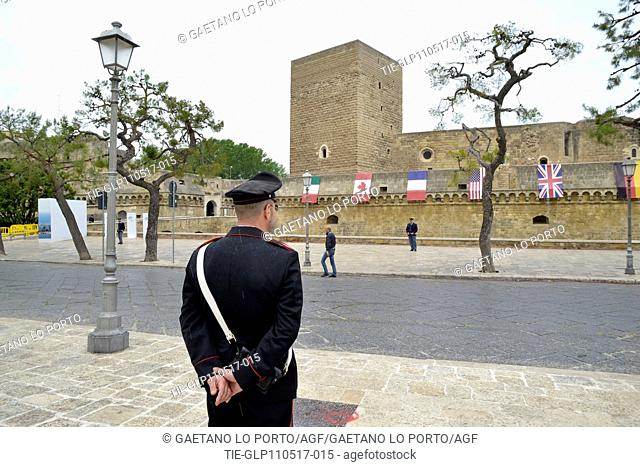 Security measures around the Svevo Castle ,Bari, ITALY-11-05-2017