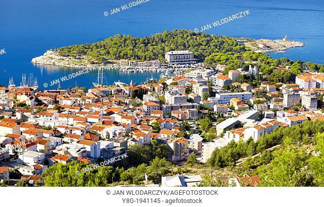 Croatia - Makarska Riviera, aerial view of Makarska Village, Dalmatia, Croatia