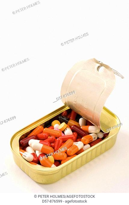 Medical equipment  Pills in a can