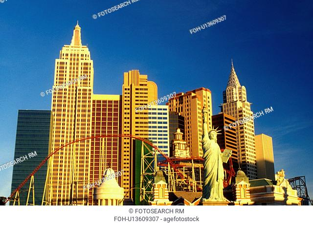 Las Vegas, casino, NV, Nevada, New York-New York, The Strip, Replica of the Statue of Liberty and other landmarks at New York-New York Hotel & Casino on The...